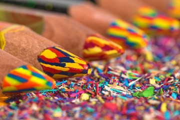 Colourful pencils row with pencil graphite and shavings. Back to school background. Macro photography.