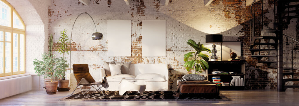 vintage brick loft apartment with empty canvas