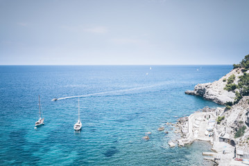 high angle view of boats on turquoise mediterranean sea