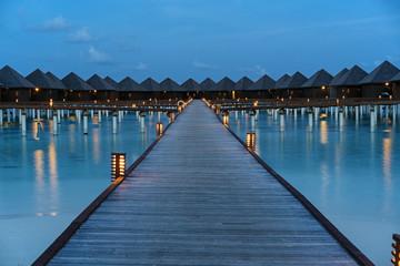 Luxuty water villas sunset in Maldives