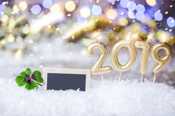 Happy New Year Card 2019 Bokeh gift