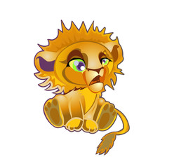 Lion character cartoon vector illustration isolated on white background