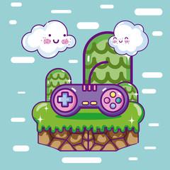 Retro videogame scenery cartoons