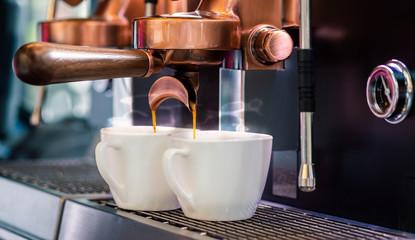 Hot coffee making by professional coffee machine