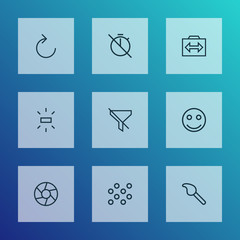 Image icons line style set with paintbrush, brightness, no filter and other switch cam  elements. Isolated vector illustration image icons.