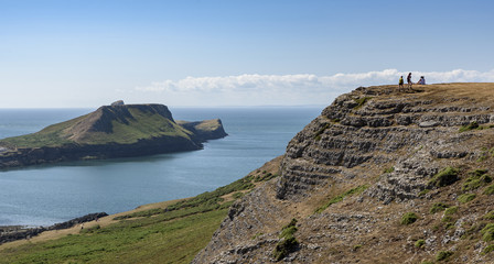Worms Head, in the Gower, South Wales, on a bright sunny day. This view is from the Welsh Coastal path