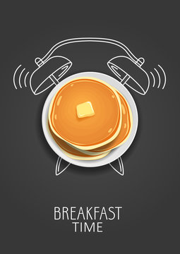 Breakfast time. Realistic pancake with butter and painted alarm clock. Concept. Vector illustration