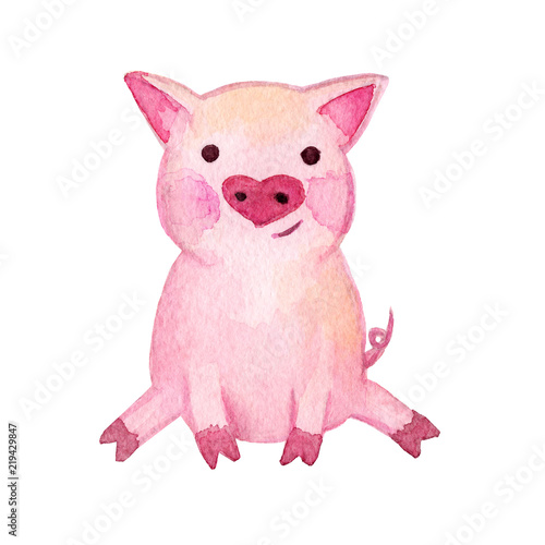 Watercolor Pig 2019 Chinese New Year Of The Pig Christmas Greeting