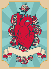 Valentine's Day card in vintage style.  Human heart and red roses on blue background. Vector illustration