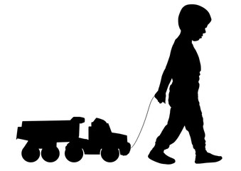 Boy rolls a toy car on rope, silhouette, vector