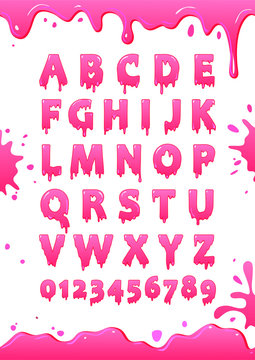 Font of pink glaze. Sweet alphabet. Letters and numbers vector poster