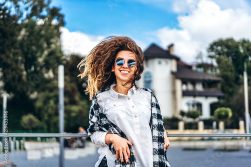 Cute Girl With Curly Hair Have Fun Outdoor Stock Photo And Royalty