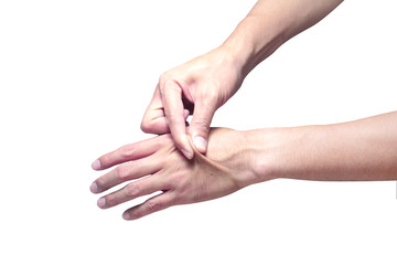 Skin elasticity check. the right hand  pull the skin on the back of left hand