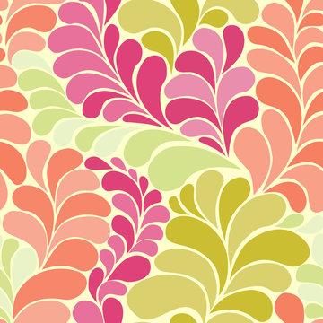 Abstract botanic hippie 60s seamless vector pattern