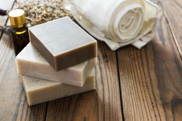 Obraz Handmade natural soap on wooden background - fototapety do salonu