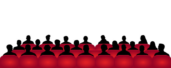Audience cinema, theater. Crowd of people in the auditorium, silhouette vector, spectators