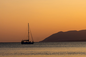 Yacht on the sea during sunset