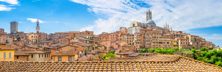 A great panorama of the historic part of one of the most beautiful cities of Tuscany, the city of Siena. Italy. Europe