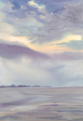 Misty lake landscape with clouds and horizon watercolor
