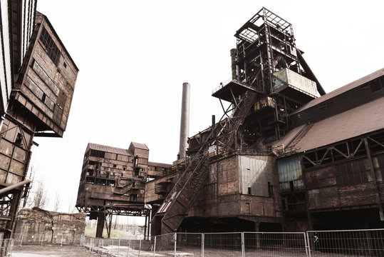 Old industrial area with  coal mine, coke ovens and blast furnace operations.