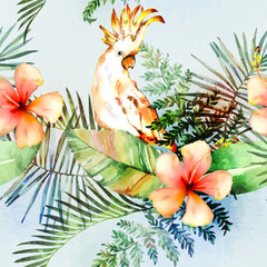 Тropical plants with cockatoo.