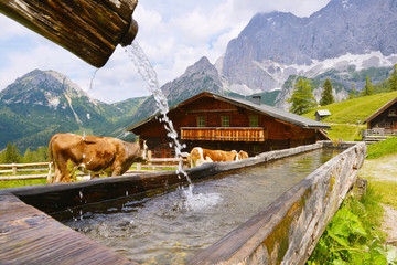 Neustattalm - traditional Austrian mountain village close to Dachstein, Austria.