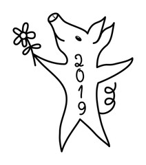 The pig is a symbol of 2019. Dancing piggy. Black and white. Colorful polygonal drawing.  Vector picture.