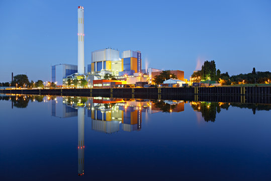 Colorful Waste Incineration Plant At Night