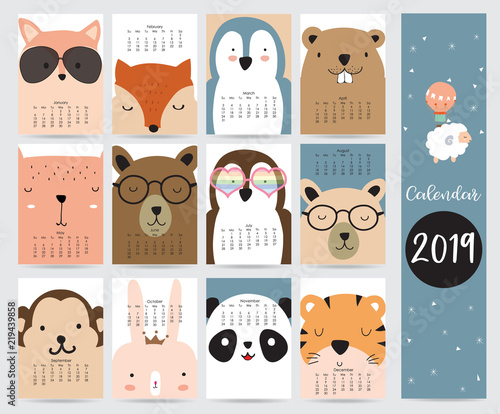 graphic relating to Penguins Printable Schedule named Adorable regular monthly calendar 2019 with fox,endure,penguin,rabbit