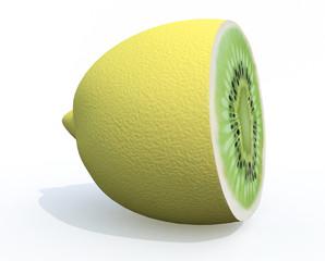lemon cutted with kiwi inside