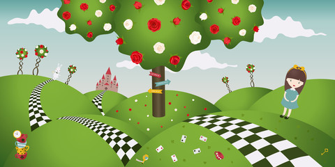 Wonderland fantastic landscape with white and red roses. Alice and the white rabbit. Horizontal banner, vector illustration(the characters in fantasy tales Alice in wonderland)