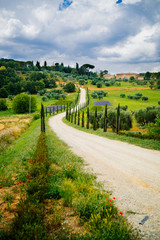 Farm with path and cypresses in Tuscany