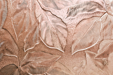 Leaf pattern embossed glass tinted peach pink
