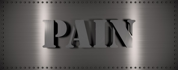 "Brushed steel plate with rivets around it and the word ""PAIN"" , useful for many applications"