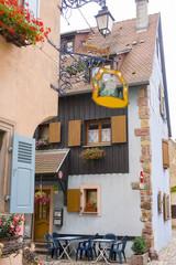 07/15/2018  Eguishem France. Colored half timbered houses in Eguishem Alsace France.