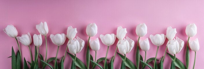 White tulips flowers over light pink background. Greeting card or wedding invitation. Flat lay, top view, copy space