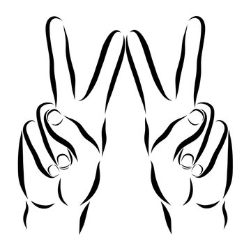 Sign of victory, sign language, hands showing the sign of V