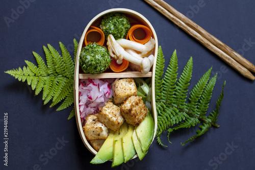 Japanese Bento Box Lunch Withg Mushrooms Onigiri And Tofu