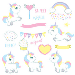 Cute Fairy Tale Fantasy Baby Unicorns Birthday Design Elements Set Vector Illustration Isolated on White