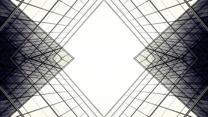 abstract architecture of geometry at glass window - future backdrop style. Wall mural