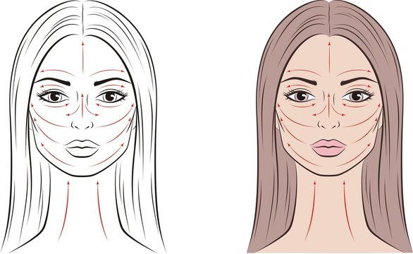 Female face with massage lines and long hair