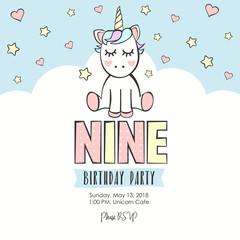 Birthday party invitation with unicorn