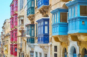 Obraz Colored Maltese balconies of Republic street, Valletta, Malta - fototapety do salonu