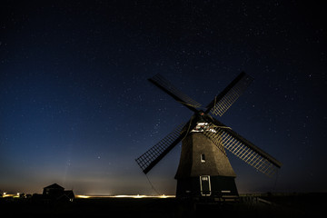 Night Landscape with Old Windmill and Stars, Holland