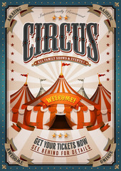 Vintage Circus Poster With Big Top/