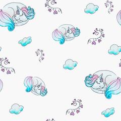 Sleeping little unicorn seamless pattern