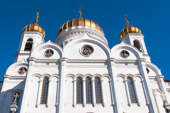 Detail of the facade Cathedral of Christ the Saviour in Moscow, Russia.