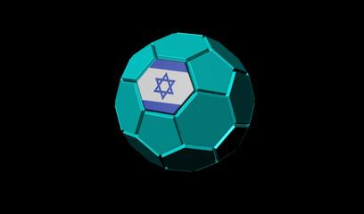 3D render of soccer ball Israel flag
