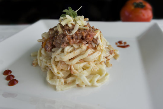 Delicious gourmet plate of spaguetti with bologneea sauce