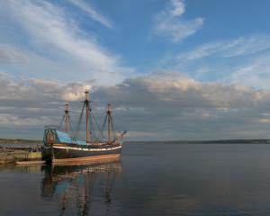 Ship Hector replica ship docked in historic Pictou, Nova Scotia